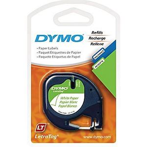 Picture of DYMO TAPE 12MMX4M PAPER BLACK ON WHITE 721510